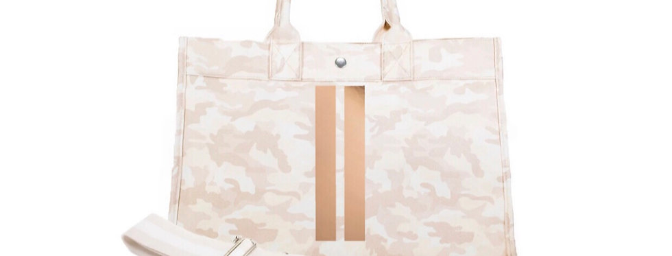 Blush Camo with Rose gold double stripe tote