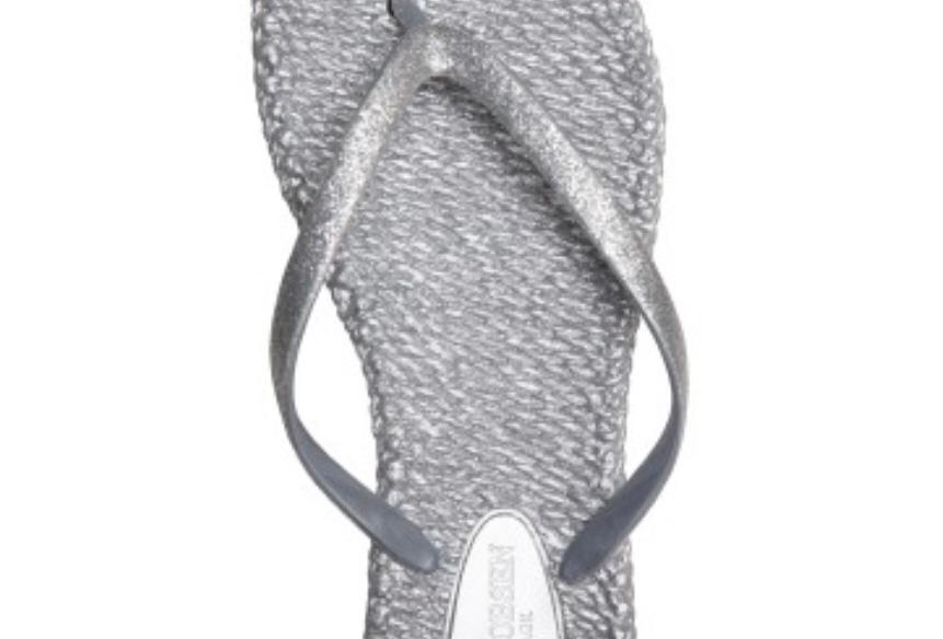 Silver Glitter Flip Flops