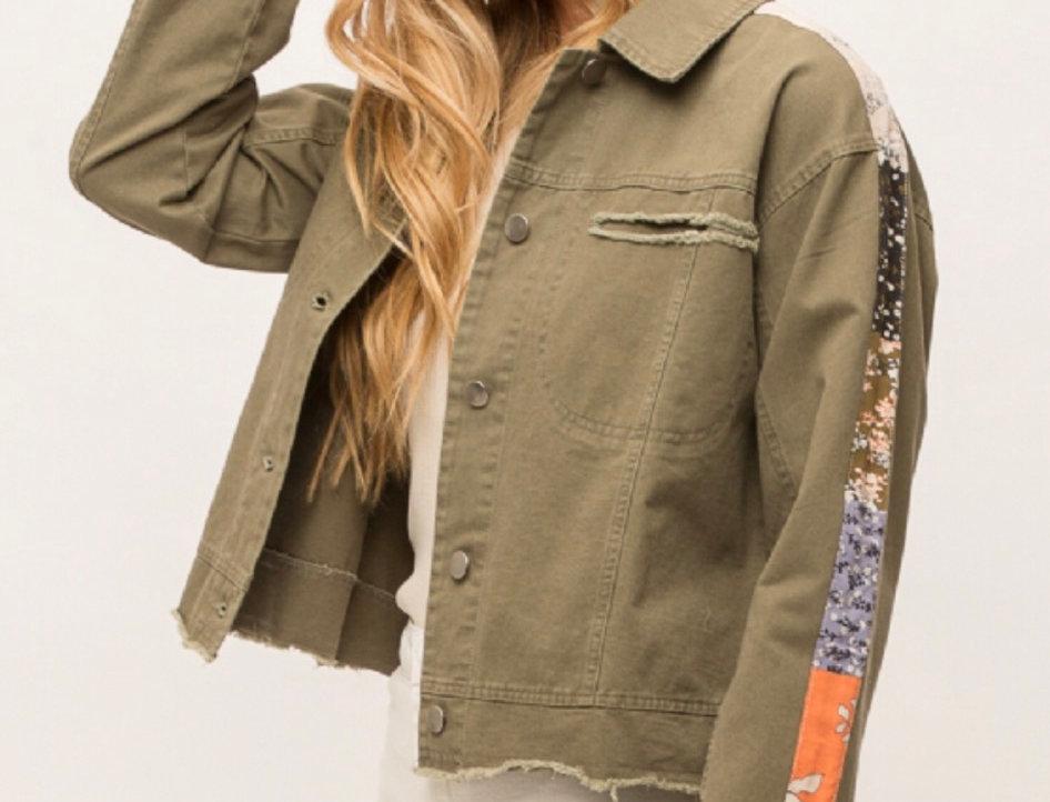 Stripe Sleeve Trucker Jacket in Army Green