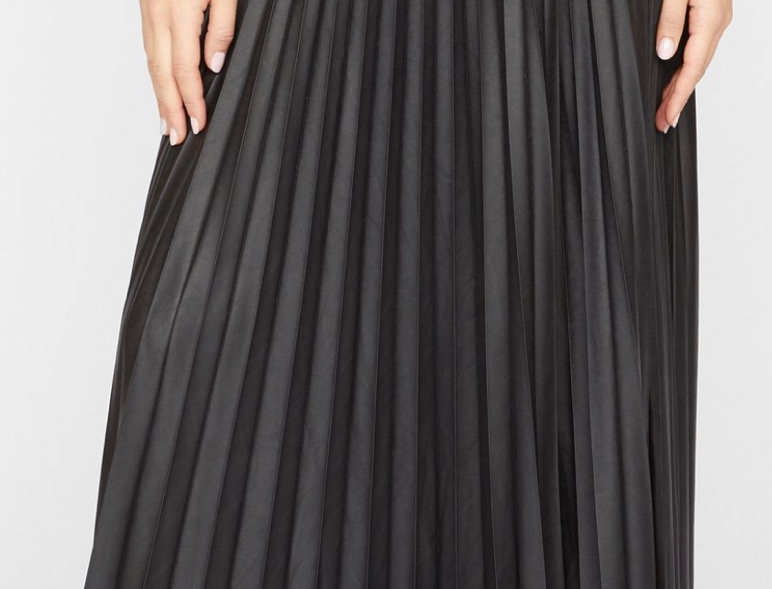Faux Leather Pleated Skirt