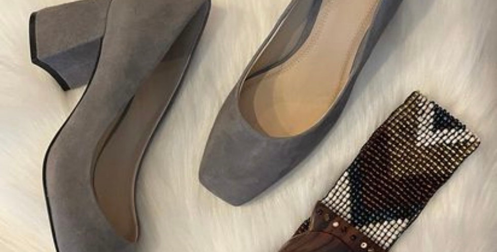 Gray Suede Square Toe Block Heel