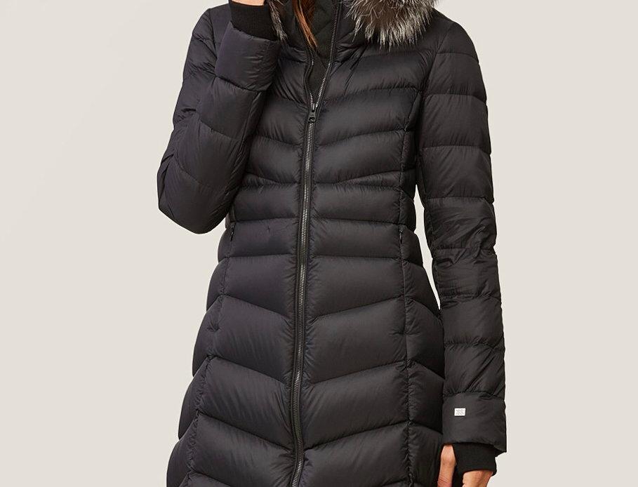 Puffer coat with fox fur hood