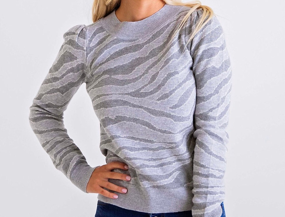 Zebra Puff Sleeve Sweater
