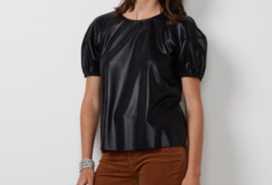 Black Vegan Leather Top