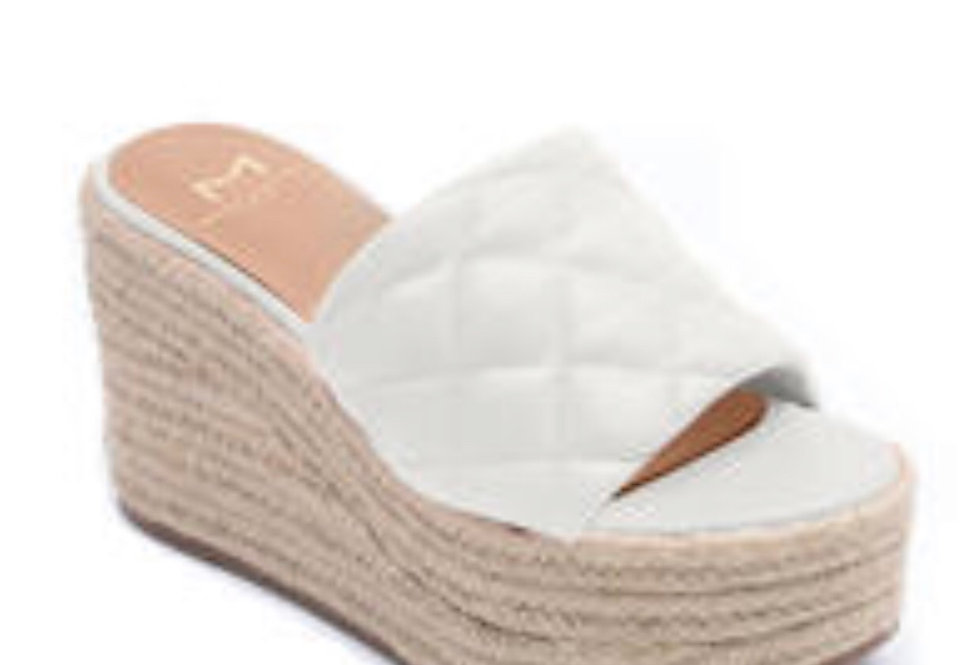 White Quilted Wedge with Espadrille Bottom
