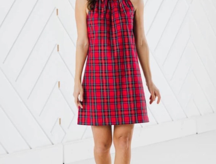 Tartan Plaid Dress with Gold buttons on the back
