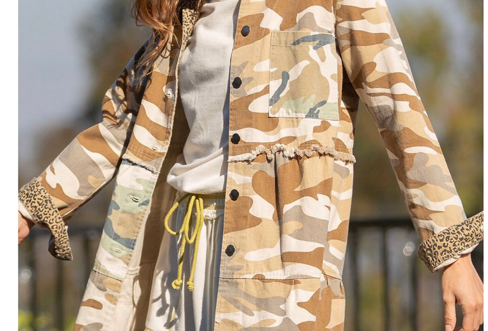 Camo Coat with leopard detail