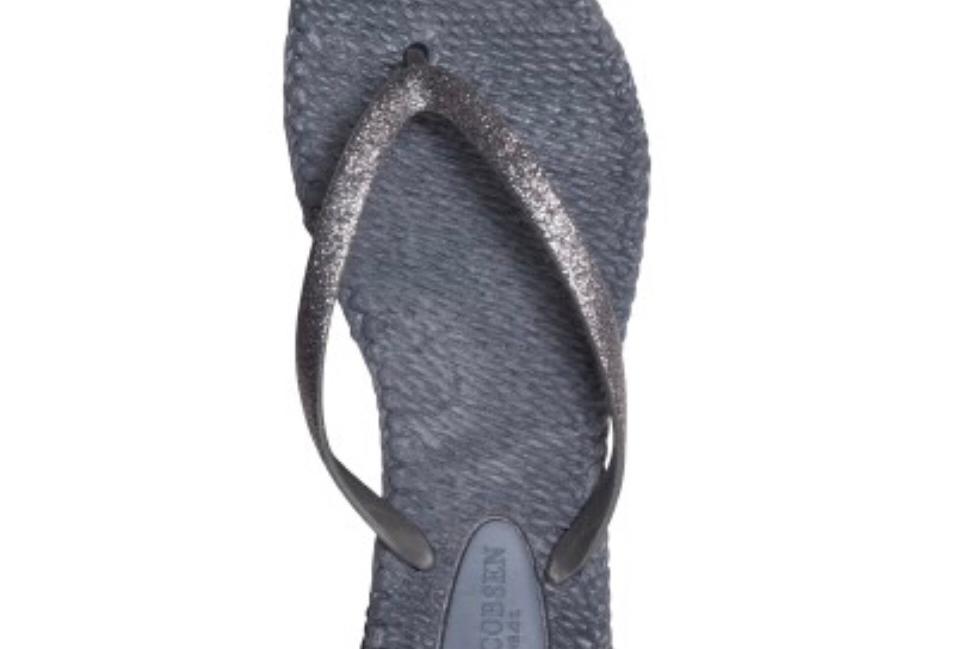 Grey Glitter Flip Flops