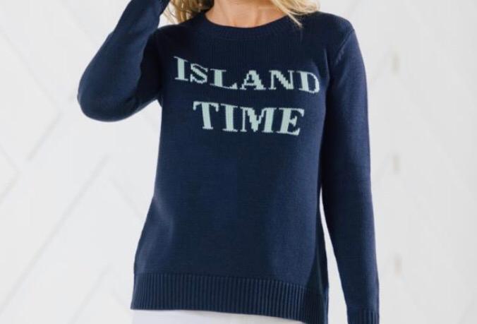 ISLAND TIME LONG SLEEVE INTARSIA SWEATER