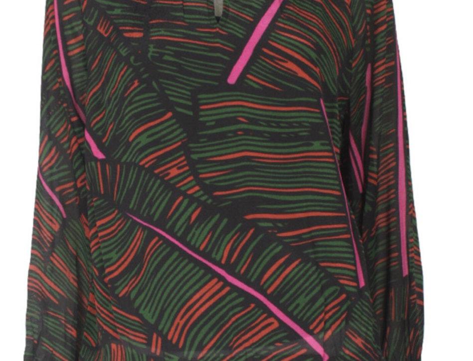 Leaf Print Long Sleeve Top
