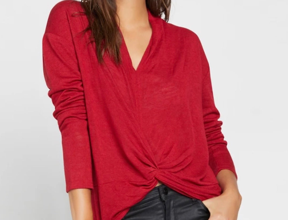 Knot Interested Top Tartan Red