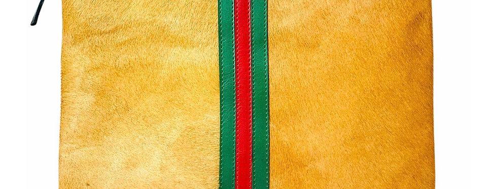 Camel hyde Gucci inspired stripe clutch