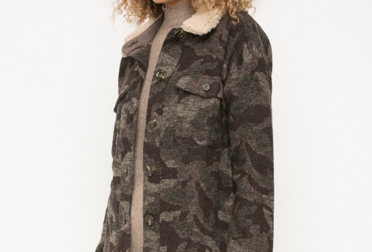 Camo Jacket with shearling collar