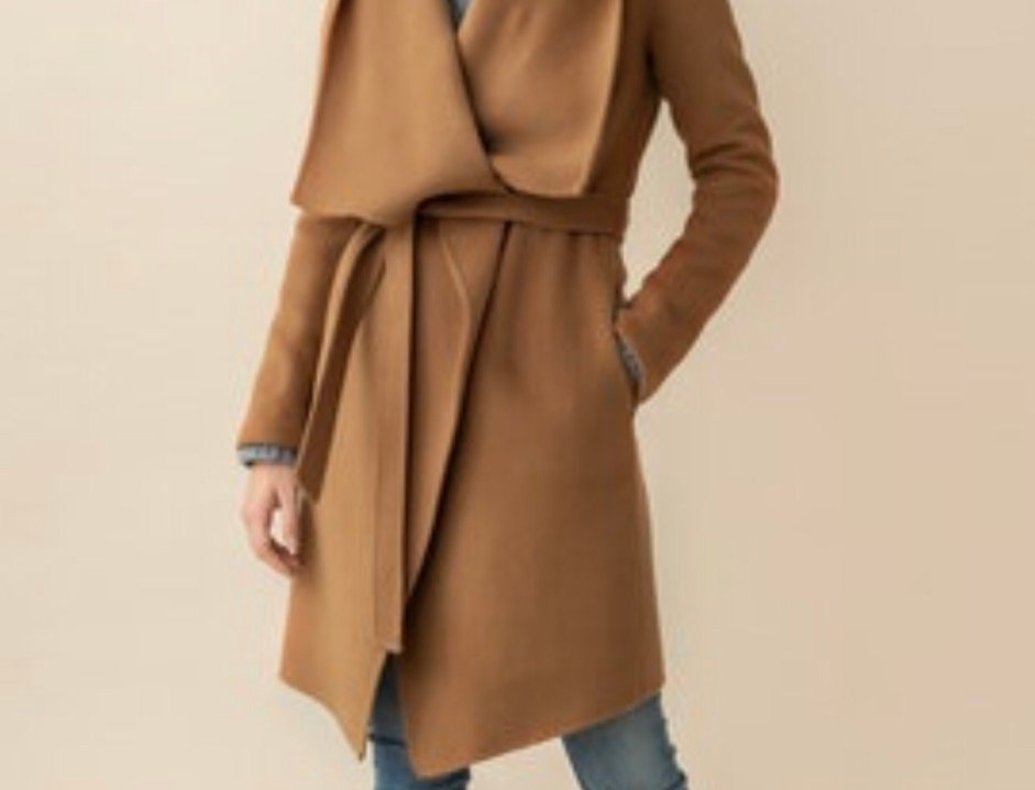Camel Wrap Coat with hood