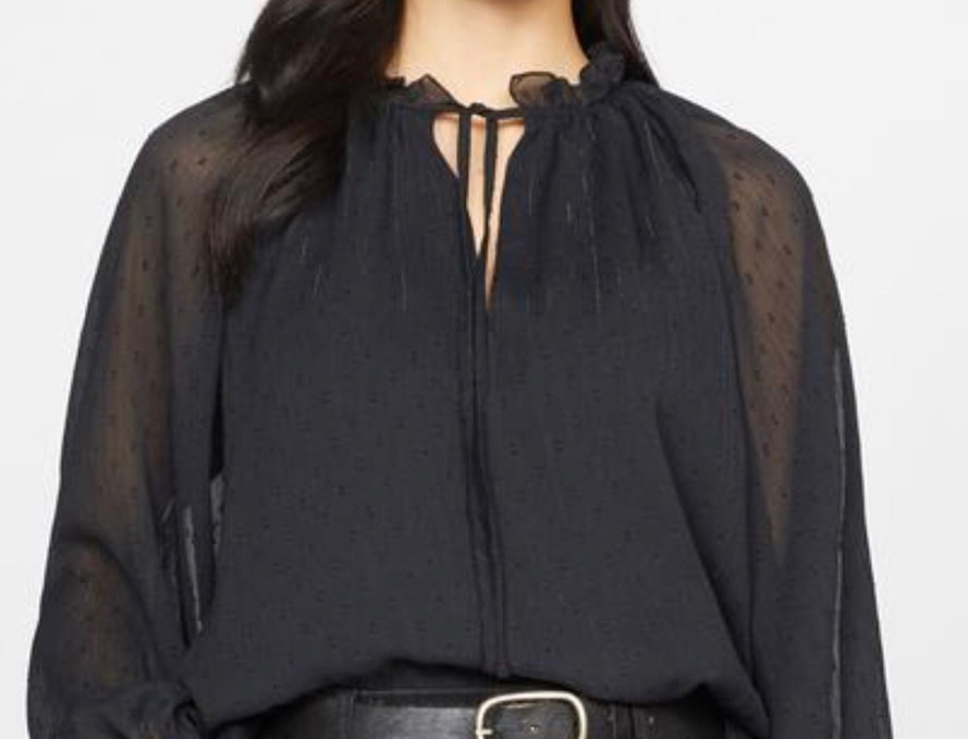 Black Top with Sheer Sleeves