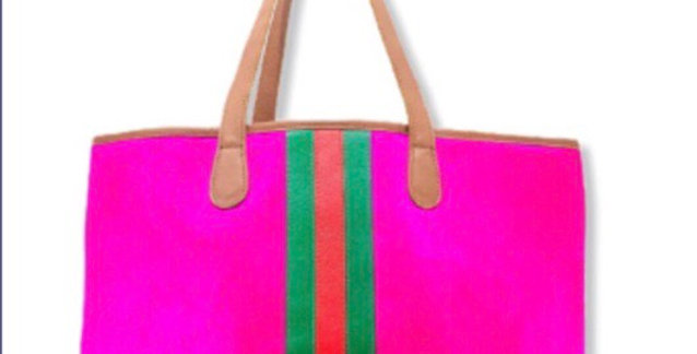 Hot Pink Hyde Gucci Inspired stripe tote