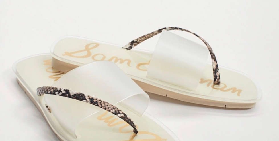 Clear Flip Flops with snake skin detail