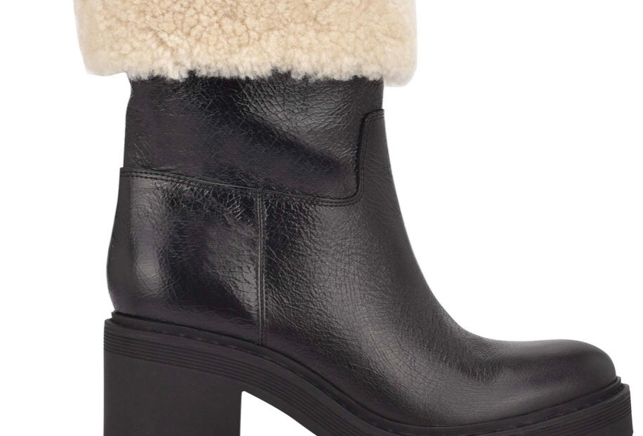 Lugsole Black Bootie with shearling foldover