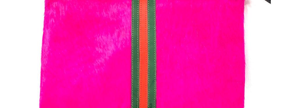 Hot Pink Hyde Gucci inspired stripe clutch