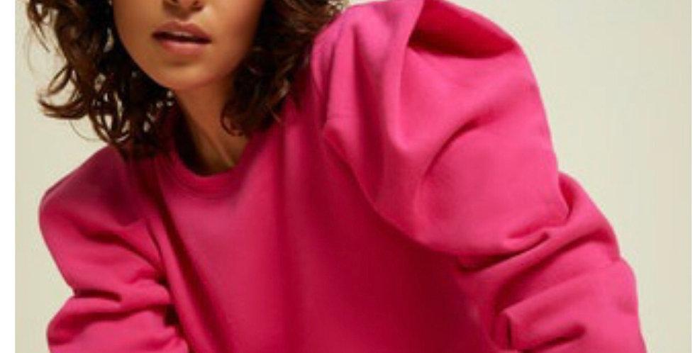 Puff Shouder Barbie Pink Sweatshirt