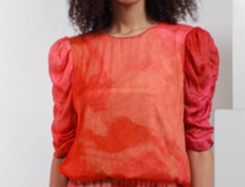 Red Watercolor with Rushing on the sleeve