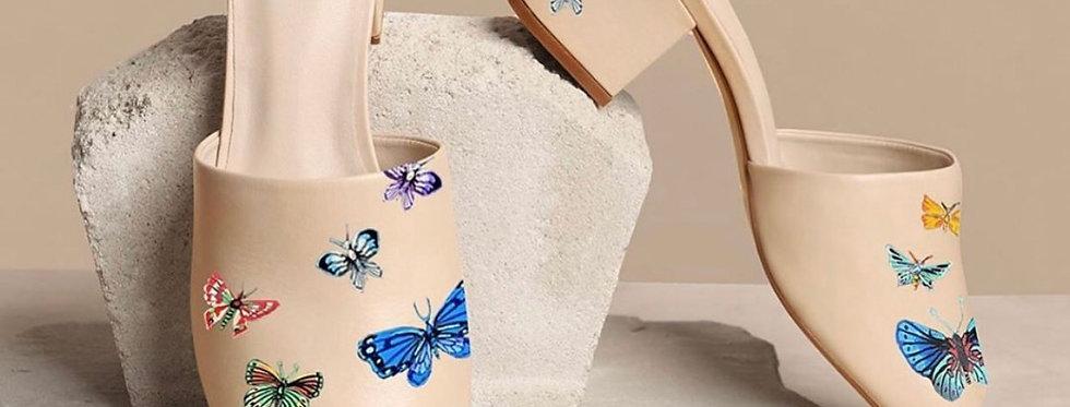 Handpainted Butterfly Heels