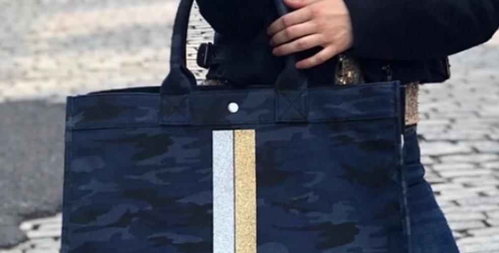 Camo Tote with gold/silver glitter stripes