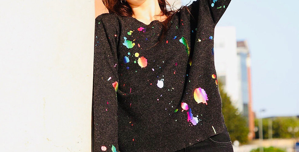 Washable Cashmere metallic paint sweater