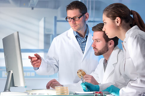 group of scientists working at the labor