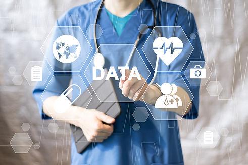 Doctor pushing button data service virtu