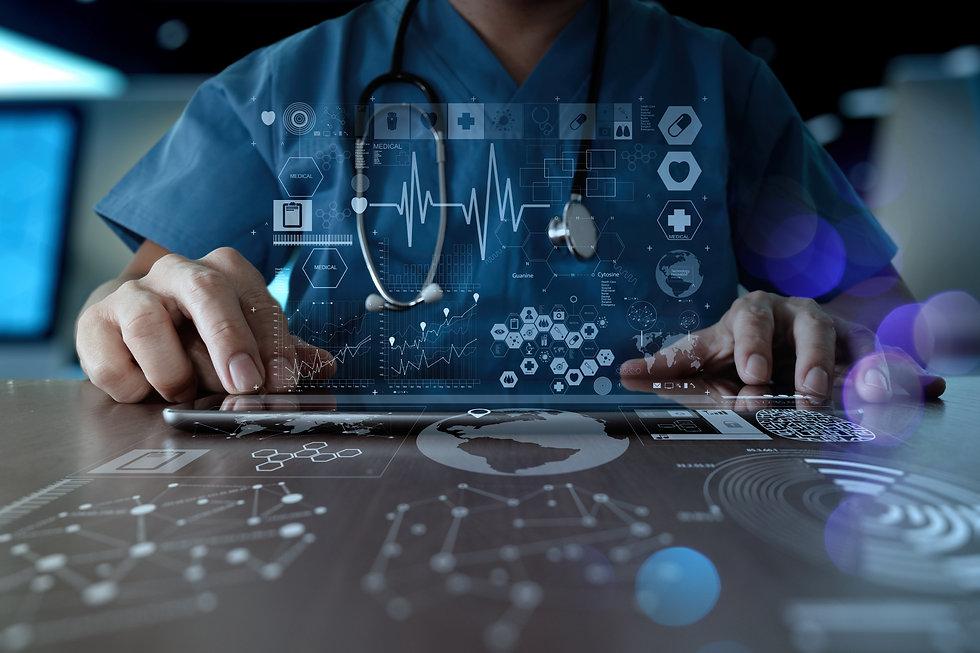 Medicine doctor hand working with modern