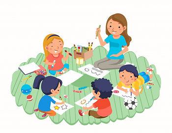 enseignant-enfants-dessinant-tout-jouant