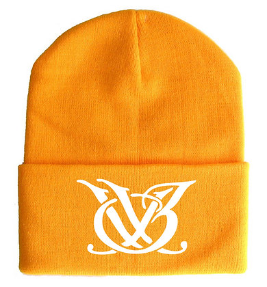 Orange and White Skull Cap