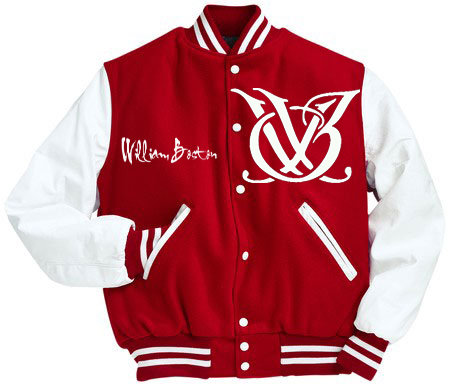 RED AND WHITE LEATHER LOGO VARSITY