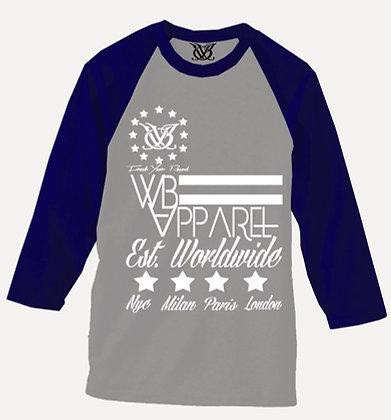 EST. WORLDWIDE RAGLAN (GREY/NAVY)