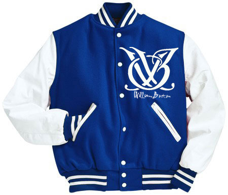 ROYAL BLUE AND WHITE LOGO VARSITY