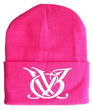 Pink and White Skull Cap