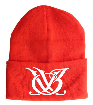 Red and White Skull Cap