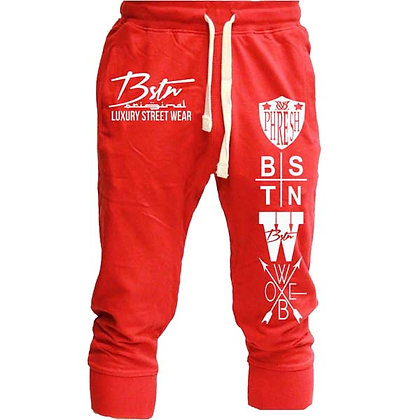 Logo Spread Capri Joggers (Red)