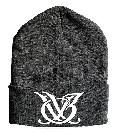 Charcoal Grey and White Skull Cap