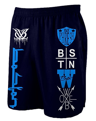 Logo Spread Navy Blue Jogger Shorts