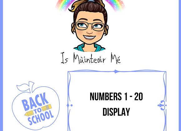 Numbers 1 - 20 Display