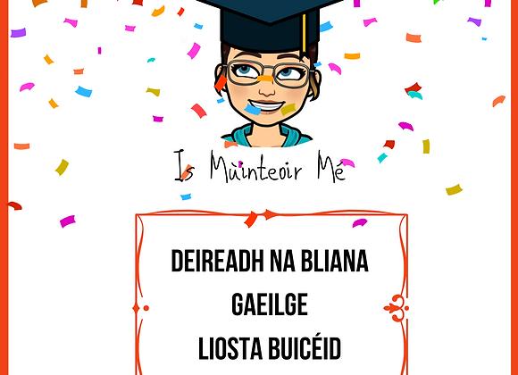 End of Year Liosta Buicéid GAEILGE