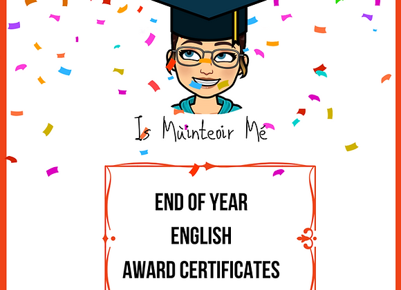 End of Year Certificates ENGLISH
