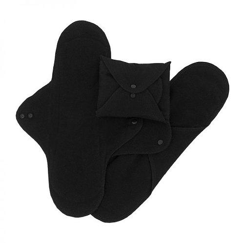 Imse Vimse pack de 3 compresas de noche de algodón orgánico negras