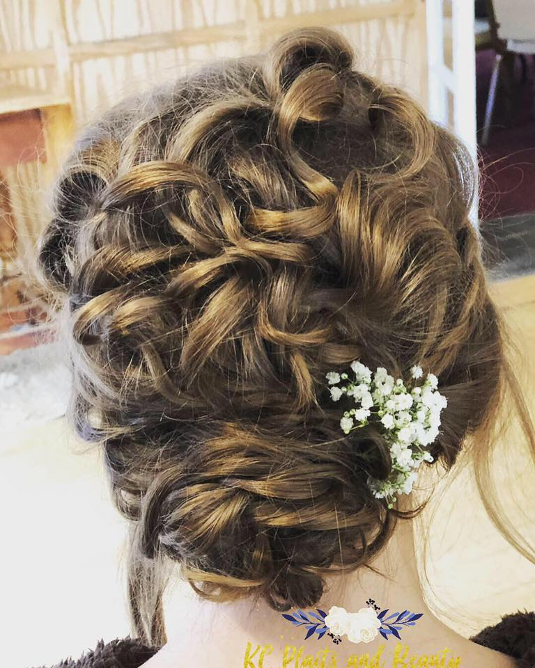 bridal textured curly updo