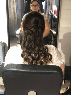 Pretty half-up half-down wedding hair in