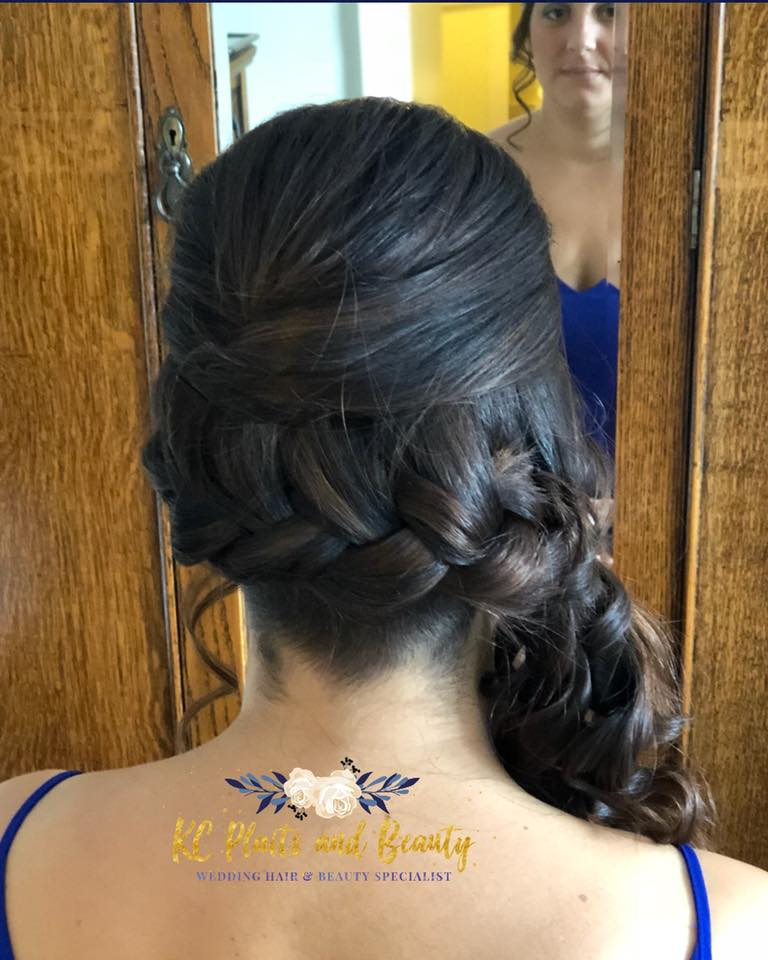 bridal hair side style with plait