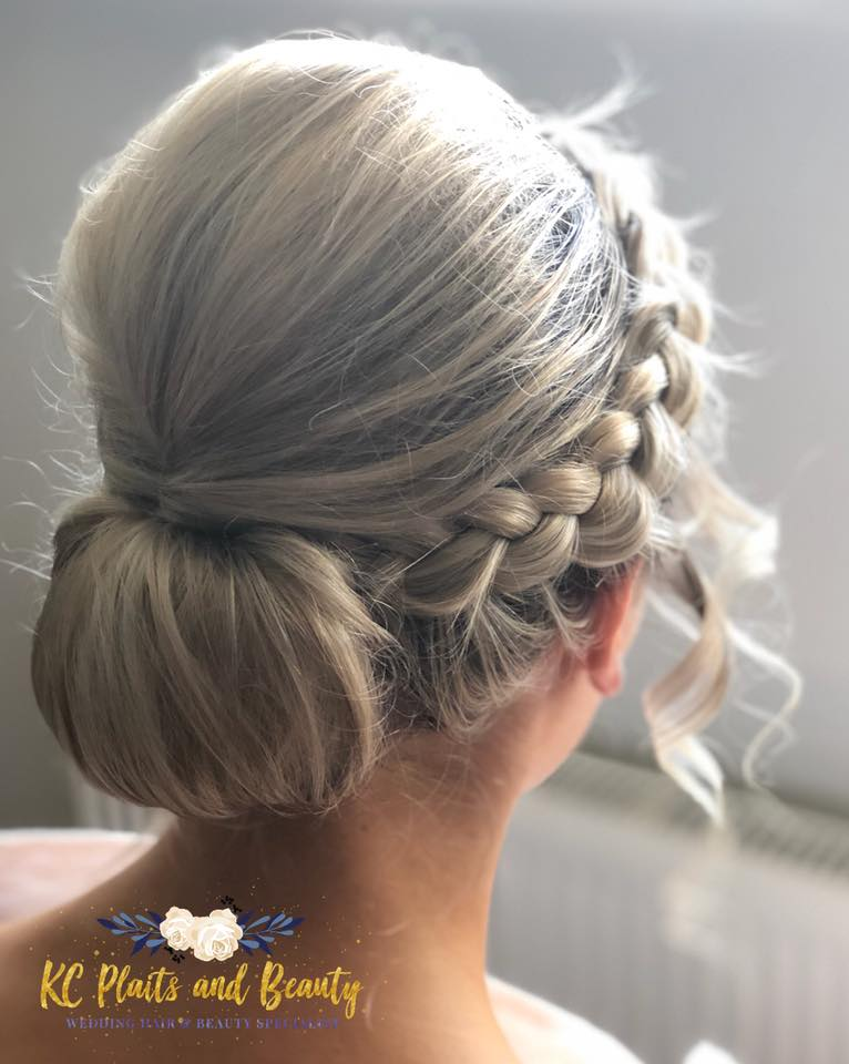 wedding hair plait with chignon