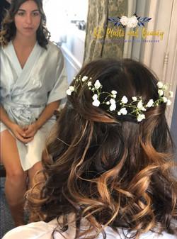 bridesmaid hair half up half down with g